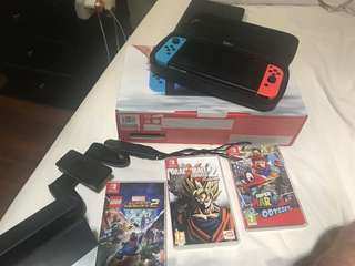 Nintendo switch complete set plus 3 games
