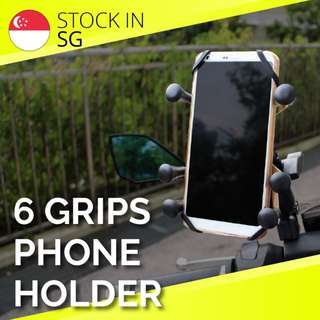 6 finger X grip phone holder for motorcycle bicycle bike escooter