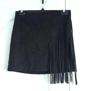 NEVER WORN! Suede Fringe Mini Skirt