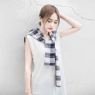 🚚 港版復古兩件式套裝無袖連身裙背心裙長版T恤格子裙