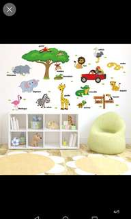 Cartoon animal world English stickers bedroom living room children's room kindergarten casual background decorative wall stickers