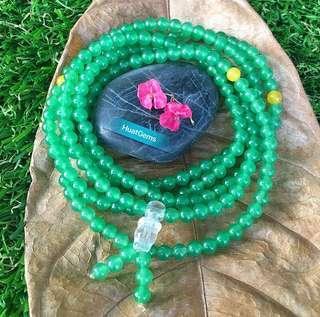 天然绿玉髓(五圈), Natural Jade Green Chalcedony bracelet