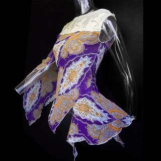 🚚 法國摩根Morgan印度風花草圖騰蕾絲網紗不規則下擺上衣