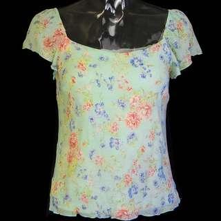 🚚 專櫃品牌MOISELLE薄荷綠色純蠶絲花草薔薇短袖上衣 38號