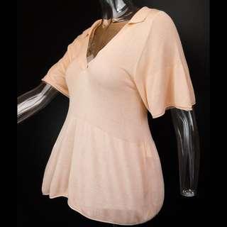 🚚 法國知名品牌KOOKAI杏色抓摺5分袖針織衫 法國製