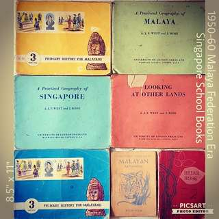 1950-60s School Books on Singapore History & Geography (MALAYA/ Straits Settlement/ British Colonial Era- 5 books), Arithmetic (1 book) and English Story (1 book). All 7 books for $50 Clearance Offer. Might have remarks or wear & tear. Sms 96337309.