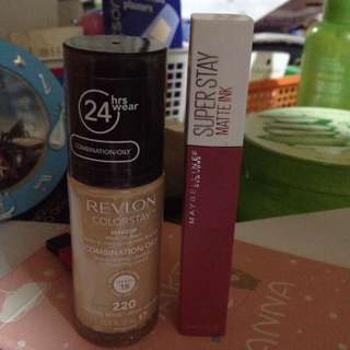 MAKEUP BUNDLE!! REVLON COLORSTAY FOUNDATION & MAYBELLINE SUPERSTAY MATTE INK LIPSTICK