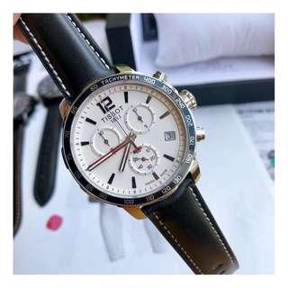 瑞士品牌 Tissot T095 Watch 天梭 皮帶 男士 石英 手錶 腕錶 42mm (WT04)