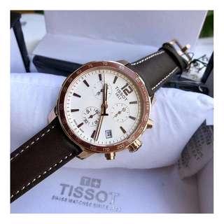瑞士品牌 Tissot T095 Watch 天梭 皮帶 男士 石英 手錶 腕錶 42mm (WT08)