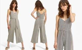 OshareGirl 07 歐美女士條紋印花單排釦細肩帶連身長褲寬褲