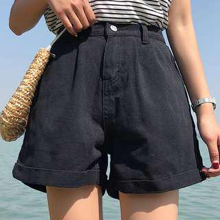 High-waist Black Denim Shorts