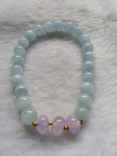 😆CLEARANCE! ONE PIECE! Natural Blue Aquamarine and Purple Amethystbracelet