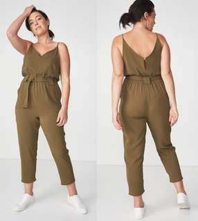 OshareGirl 07 歐美女士純色細肩帶修身款綁帶連身褲連身長褲