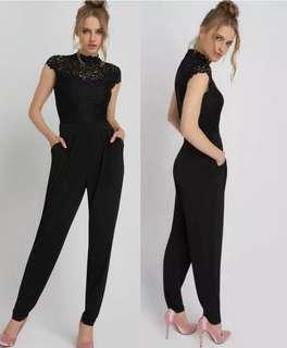 OshareGirl 07 歐美德國單女士經典蕾絲設計高腰連身長褲