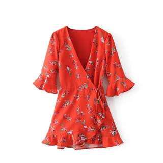 Red Kimono Floral Dress
