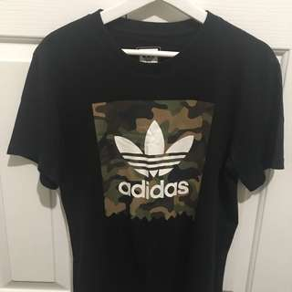 Adidas camouflage and black shirt