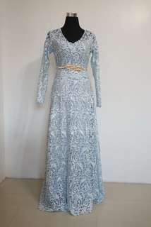Powder Blue Thick-Lace Longsleeve Gown