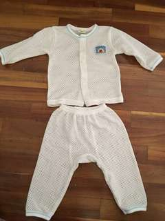 Newborn white eyelet set baby set pants shirt set (upto 3 months)