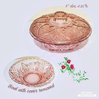 Vintage Pretty Pink Glass Candy Bowl with Cover. Large, not small. Sizes as in the photos. You can serve candies, choccolate or pineapple tarts with it. Good Condition, unused, no chip no crack. $15 Clearance offer! Sms 96337309.