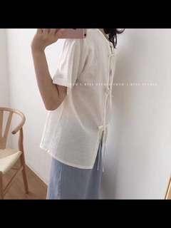🚚 全新棉麻背後蝴蝶結抽繩造型上衣 白色
