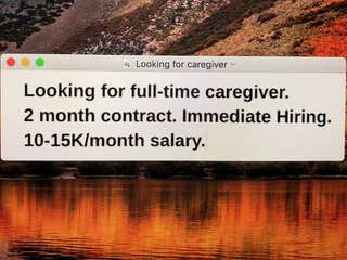 Looking for caregiver