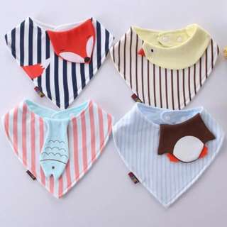🚚 4-piece Cute Animal Design Two-layered Triangle Bib for Baby Girl Boy