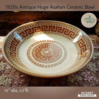 "Very Rare 1920s Huge ASAHAN Feasting Bowl. 12"" or 30cm dia. Good Condition, unused, no chip no crack. $138 offer! Sms 96337309."