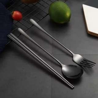 🚚 亮黑不銹鋼餐具組三件套 附盒 收納袋