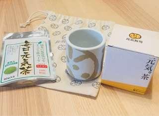 Genki元氣綠茶連茶杯加布袋套裝