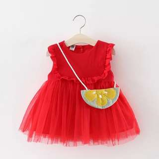 🚚 Pretty Solid Ruffled Mesh Sleeveless Dress with A Bag for Baby/Toddler Girl (0-3 yrs)