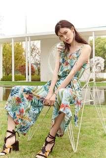 🚚 OshareGirl 07 歐美熱帶花朵印花高腰寬版連身長褲寬褲