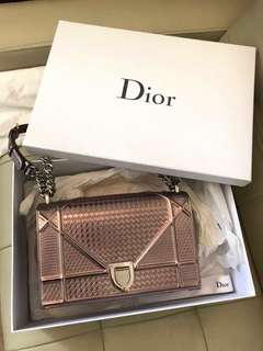 Dior Diorama Rose gold metallic chain bag