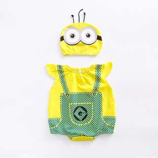 🚚 Costume Minions Pattern Sleeveless Bodysuit with Hat (0-3 yrs)