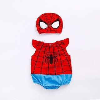 🚚 Costume Spider-Man Pattern Sleeveless Bodysuit with Hat (0-3 yrs)