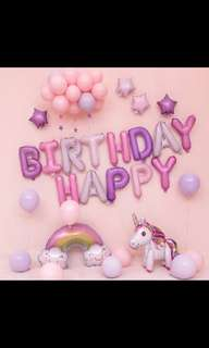 🦄 [Instock] Happy Birthday Party Balloon Sets - Unicorns