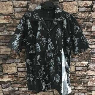 Originalquzzy black monroe hawaiian shirt sz L new
