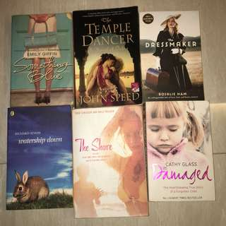 Chick lit/ fiction lit. Something blue, the temple dancer, the dressmaker, watership down, the shore, damaged