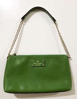 Authentic Kate Spade Wellesley Small Purse Kelly Green Pebbled Leather Baguette