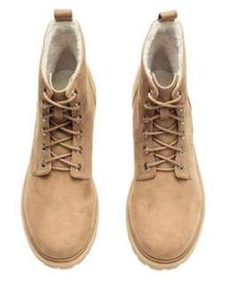 H&M Divided Lace Up Combat Boots (Light Brown)
