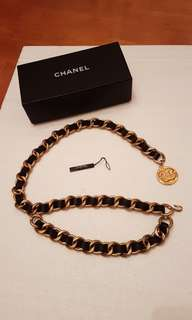 Chanel Vintage Black Leather Thick Golden Chain Belt 腰鏈