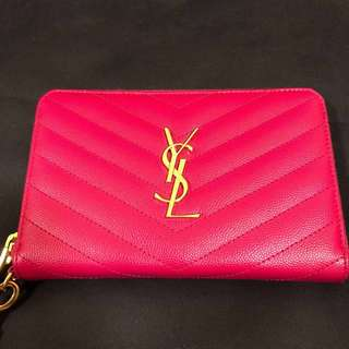 YSL monogram zip around wallet clutch (pink)