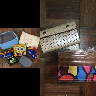 Assorted: wallets, coin purse and pouch