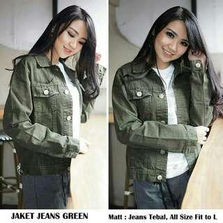 Jeans wanita JAKET JEANS GREEN jaket jeans outwear jeans jeans jaket