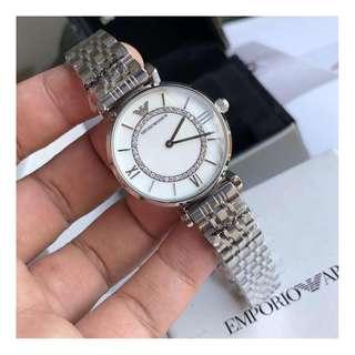 意大利品牌 Armani AR1910 優雅簡約圓盤 石英 精鋼帶 手錶 腕錶 32mm (WT19)