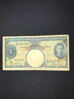 1941 Board of Commissioners of Currency Malaya $1 Banknote King George