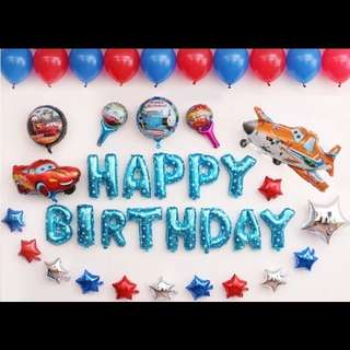 🦄 [Instock] Happy Birthday Party Balloon Sets - Cars (Lightning McQueen / Planes / Spiderman