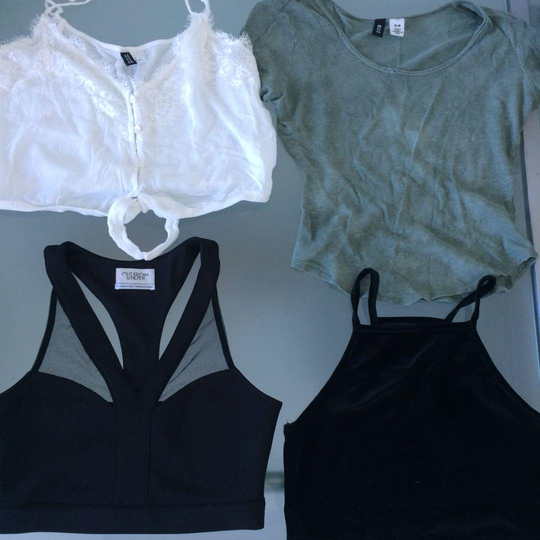 Assorted crop tops