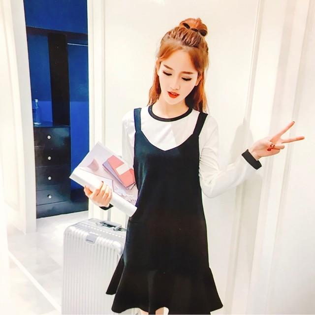 B Dm Set Lesley Cream Baju Wanita Cewe Kaos Dress Ala Korea Jepang