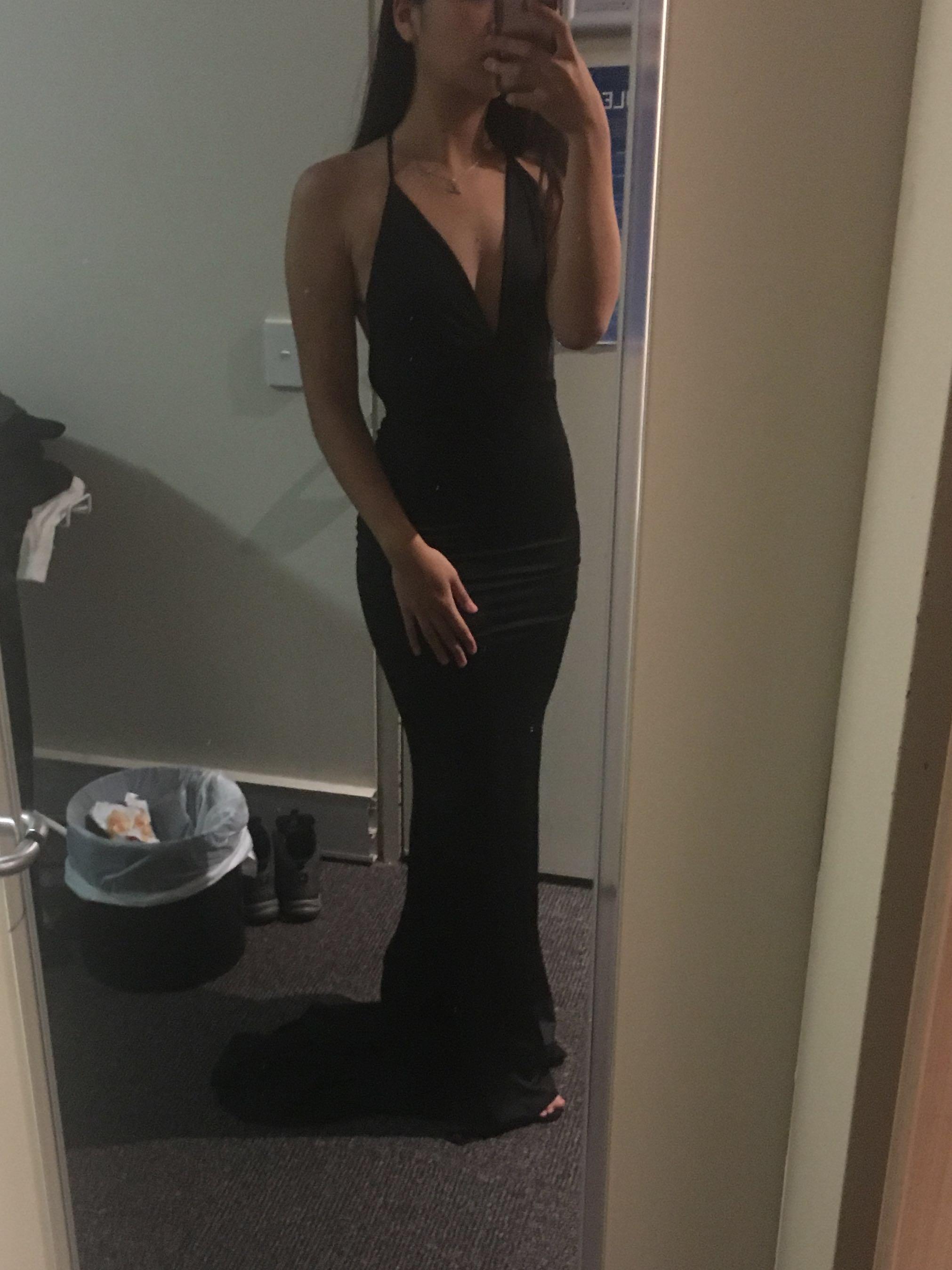Black backless formal dress