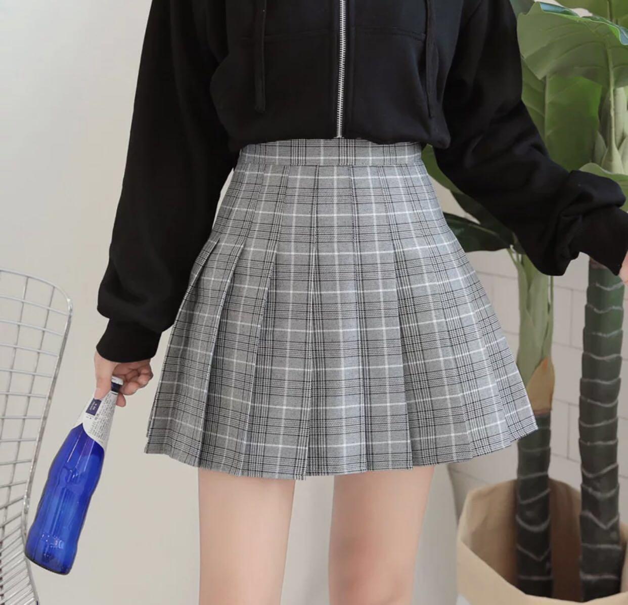 77b26663bd8d Brand New] Tartan Checkered Pleated Mini Skirt Grey, Women's Fashion ...